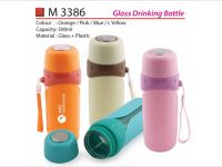 <p>Glass Drinking Bottle Model: M 3386 Capacity: 500ml Material: Glass + Plastic Colour: Orange / Pink / Blue / Light Yellow</p>