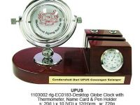 Desktop Globe Clock with Thermometer & Name Card & Pen Holder