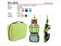 <p>Hanging Toiletries Bag Model: BTL 2619 Size: 16.5 x 22.5 x 7.5cm Material: Polyester Weight: 223g Colour: Green / Pink / Black / Blue</p>