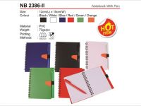 <p>Notebook with Pen Model: NB 2386-ii Size: 15(H) x 12(W)cm Material: PVC Weight: 73g Colour: Black / White / Blue / Red / Green / Orange</p>