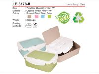 <p>Lunch Box (1-Tier) Natural Eco-Friendly Organic Wheat Fiber Lunch Box with Fork & Spoon. Model: LB 3178-ii Size: 7(H) x 20(L) x 13(W)cm Weight: 253g Material: Organic […]</p>