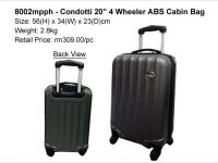 <p>Condotti 20″ 4 Wheeler ABS Cabin Bag Superlight hard case cabin bag design, travel luggage bag. Model: 8002 mpph Size: 56(H) x 34(W) x 23(D)cm Weight: 2.8kg […]</p>