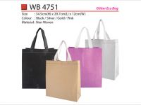 <p>Glitter Eco Bag Model: WB 4751 Size: 34.5(H) x 29.7(L) x 12(W)cm Material: Non-Woven Colour: Black / Gold / Pink / Silver</p>