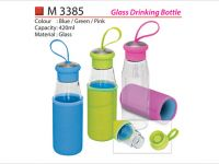 <p>Glass Drinking Bottle Model: M 3385 Capacity: 420ml Material: Glass Colour: Blue / Green / Pink</p>