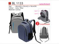 <p>Laptop Backpack Model: BL 1133 Size: 44(H) x 33(L) x 18(W)cm Material: Canvas Colour: Grey / Blue</p>