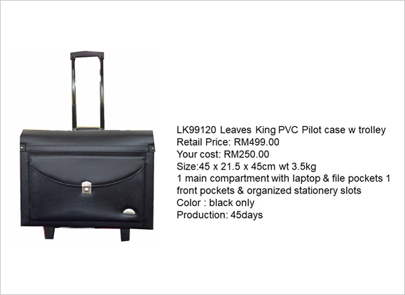 Leaves King PVC Pilot Case with Trolley LK 99120