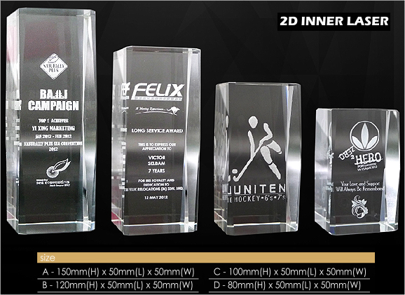 Crystal Paper Weight with 2D inner laser engraving