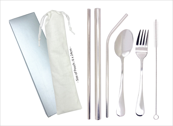 Stainless Steel Straw Fork and Spoon Set with Pouch