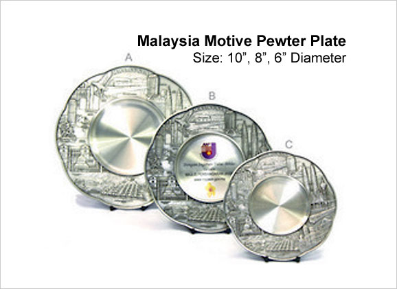 Malaysia Motive Pewter Plate