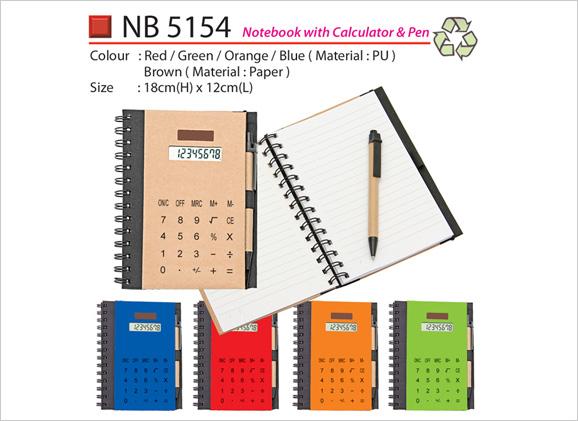 Notebook with Calculator & Pen NB5154