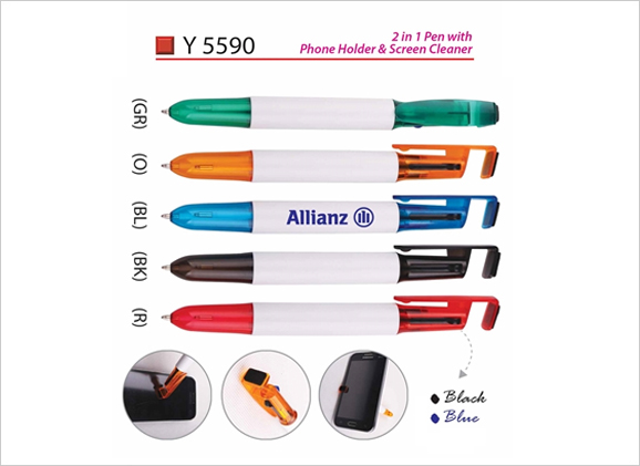 2 in 1 Pen with Phone Holder & Screen Cleaner Y5590