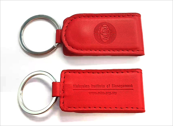 PU Leather Button Keychain with Logo Blind Emboss
