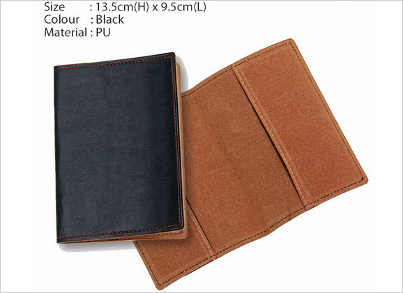 PU Passport Holder Black Brown inner design